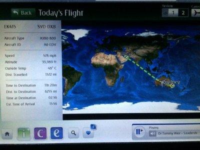 Sydney to Dubai Flight Map - Picture of Emirates - TripAdvisor