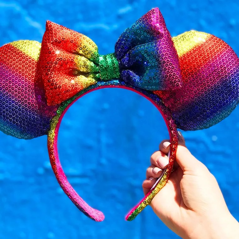 Rainbow Sequined Minnie Mouse Ears Are Coming to Disney Parks   Allure Rainbow sequined Minnie Mouse ears