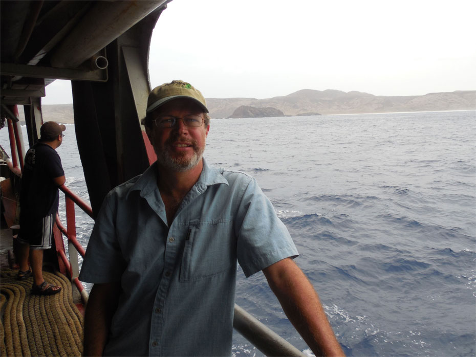 Mulcahy on his way to Clarion, a remote island off of the coast of Mexico and the one place in the world where the Clarion Nightsnake can be found. The Clarion Nightsnake, which was initially discovered in the first half of the 19th century and then struck from the scientific record, was rediscovered and declared a new species by National Museum of Natural History researcher Daniel Mulcahy and a team of Mexican scientists led by ecologist Juan Martínez-Gómez in May 2014. (Photo courtesy of Juan Martínez-Gómez )