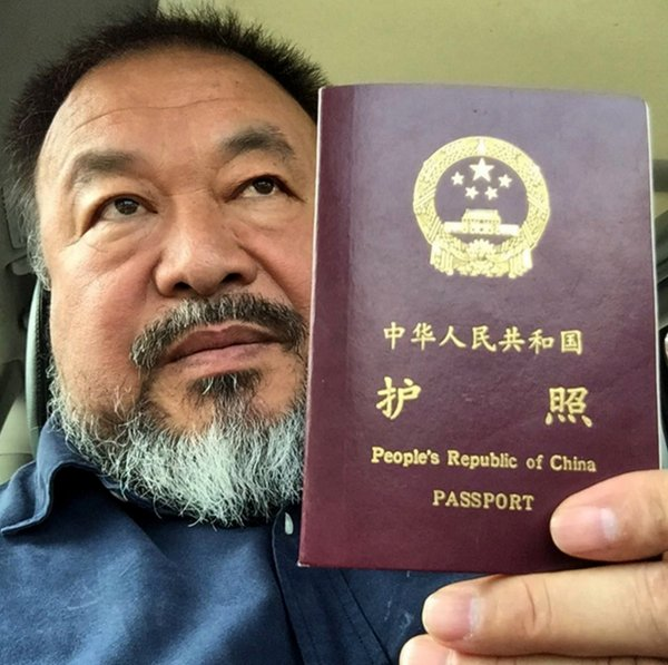 Ai Weiwei posted this picture on Instagram on Wednesday after the Chinese authorities returned his passport.