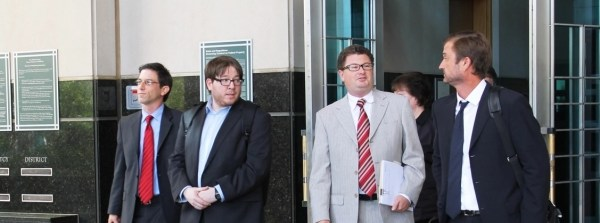 Matthew Keys escorted by his legal team. Photo: Sarah Jeong