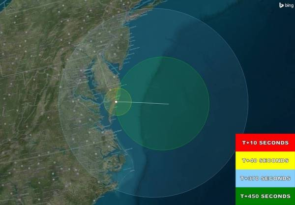 Predicted visibility map for NASA rocket launch Oct. 7.
