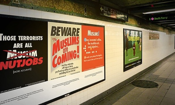 The Muslims Are Coming! ad in NYC subway station.