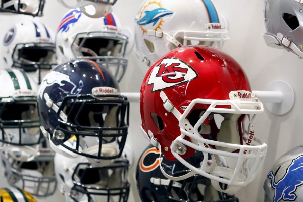 Team helmets at NFL HQ in NYC Dec. 3, 2015. REUTERS/Brendan McDermid