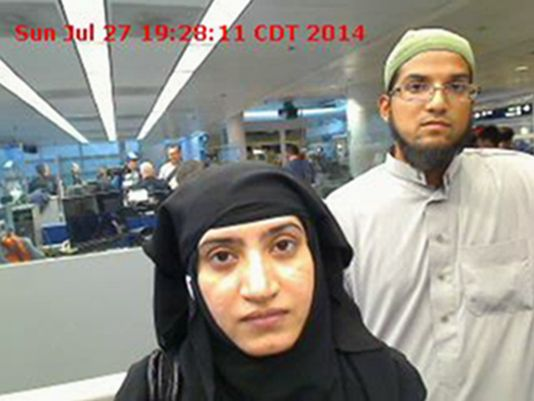 Tashfeen Malik, left, and Syed Farook died on Dec. 2, 2015, in a gun battle with authorities several hours after their assault on a gathering of Farook's colleagues in San Bernardino, Calif., that left 14 people dead.