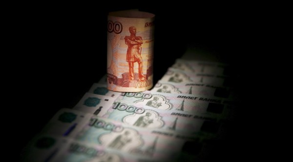 Russian rouble banknotes are seen in this illustration picture taken in Moscow