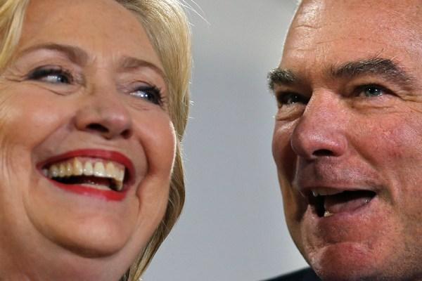 Democratic U.S. presidential candidate Hillary Clinton and U.S. Senator Tim Kaine (D-VA) U.S., July 14, 2016. REUTERS
