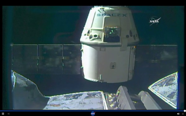 Image from NASA's live coverage: SpaceX's Dragon spacecraft departing the ISS at 6:10 am EDT Friday, Aug. 26, 2016, after successfully delivering almost 5,000 pounds of supplies and scientific cargo on its ninth resupply mission to the orbiting lab.