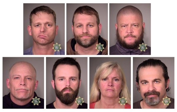 Clockwise from top left, Ryan Bundy, Ammon Bundy, Brian Cavalier, Peter Santilli, Shawna Cox, Ryan Payne and Joseph O'Shaughnessy. Credit Multnomah County Sheriff's Office
