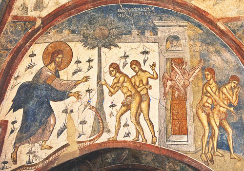 freska Gospod Adam Eva Zmija