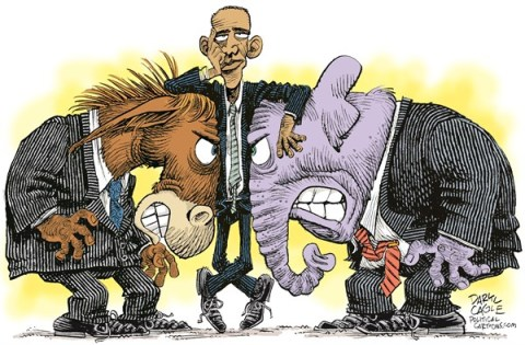 Daryl Cagle - CagleCartoons.com - Obama in the Middle COLOR - English - Barack Obama,donkey,elephant,Democrat,Republican,budget, congress, GOP