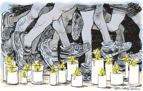 Daryl Cagle - CagleCartoons.com - Boston Marathon Memorial COLOR - English - Boston Marathon,candles,running shoes,runners,memorial,terrorism,bombs, boston marathon