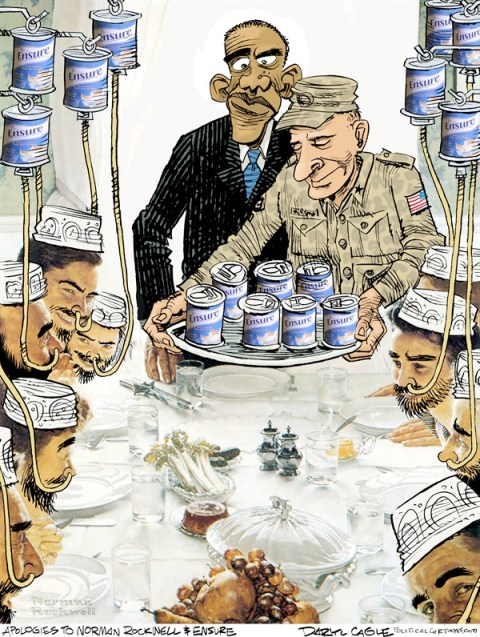 Daryl Cagle - CagleCartoons.com - Guantanamo Dinnertime COLOR - English - Barack Obama,President,Norman Rockwell,Ensure,force feeding,hunger strike,Guantanamo