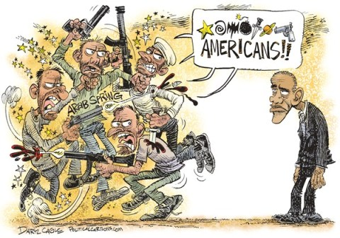 Daryl Cagle - CagleCartoons.com - Anti-American Arab Spring and Obama COLOR - English - Egypt, Muslim Brotherhood, Arab Spring, Barack Obama, Americans, anti-American, egypt failing