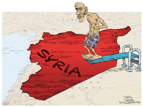Daryl Cagle - CagleCartoons.com - Almost Ready to Jump Into Syria COLOR - English - Syria,blood,pool,diving board,Barack Obama,watch,time,chemical weapons, syria chemical weapons
