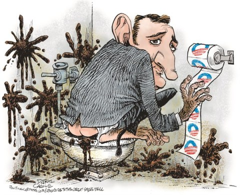 Daryl Cagle - CagleCartoons.com - Senator Ted Cruz - Obamacare and Monkey Poop COLOR - English - Steve Bell, Ted Crus, filibuster, monkey, George W. Bush, Barack Obama, poop, throw poop, feces, bathroom, toilet paper, Obamacare