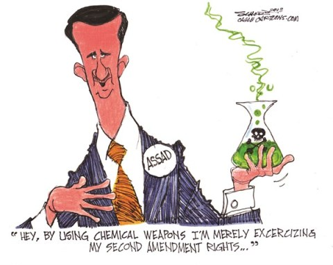 Bill Schorr - Cagle Cartoons - Assads Weapons - English - assad,chemical,weapons,syria