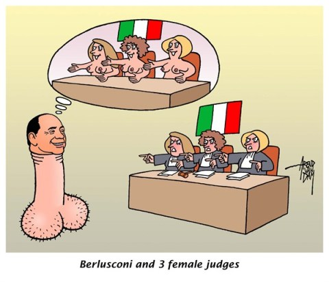 Arend Van Dam - politicalcartoons.com - Berlusconi trial - English - Berlusconi, trial, judges, Italy