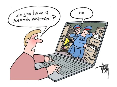 Arend Van Dam - politicalcartoons.com - Search Warrant - English - NSA, search warrant, spying, internet, privacy