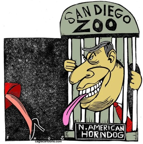 Randall Enos - Cagle Cartoons - Mayor Bob Filner COLOR - English - mayor bob filner,san diego,sexual harassment