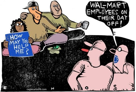 Randall Enos - Cagle Cartoons - Wal-Mart COLOR - English - wal-mart,wal-mart employees,low income,low wages