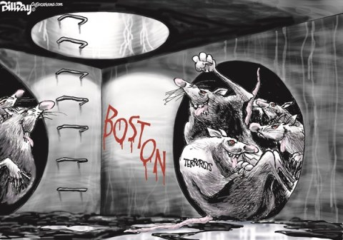 Bill Day - Cagle Cartoons - Boston Terrorism   COLOR - English - terrorism, Boston Marathon, sewers, rats