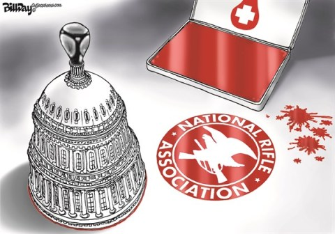 Bill Day - Cagle Cartoons - Rubber Stamp   COLOR - English - Congress, NRA, gun control, assault weapons ban, background check