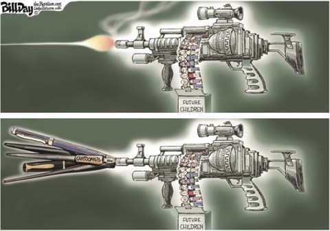 Bill Day - Cagle Cartoons - The Pen is Mightier   COLOR - English - assault weapons, assault weapons ban, cartoonists, comics