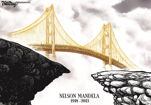 Bill Day - Cagle Cartoons - Nelson Mandela  color - English - Nelson Mandela, South Africa, apartheid, equality, bridge