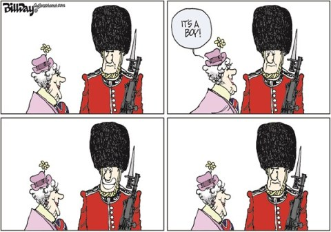 Bill Day - Cagle Cartoons - IT'S A BOY   color - English - royal baby, Kate and William, England, Royal Guard