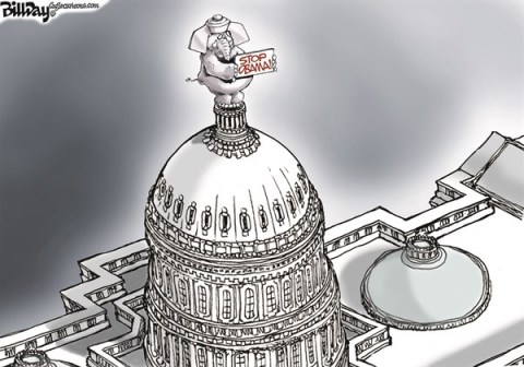 Bill Day - Cagle Cartoons - WINGNUTS RULE   color - English - Congress, Obama, wingnuts, budget, obstruction