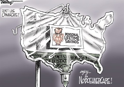 Bill Day - Cagle Cartoons - NoBoehnerCare  color - English - ObamaCare, healthcare, Boehner, savings
