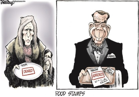 Bill Day - Cagle Cartoons - FOOD STAMPS   color - English - food stamps, poor, wealthy, Congress, Boehner