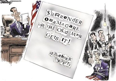 Bill Day - Cagle Cartoons - HOSTAGE CRISIS  color - English - debt limit, fiscal cliff, hostage, Boehner, Obama