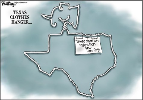 Bill Day - Cagle Cartoons - Texas Clothes Hanger   color - English - Texas, abortion, clothes hanger, pro-choice, Supreme Court