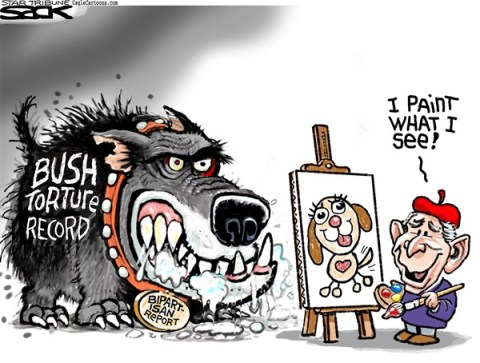 Steve Sack - The Minneapolis Star Tribune - Bush Torture Portrait COLOR - English - Bush, torture
