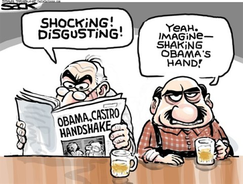 Steve Sack - The Minneapolis Star Tribune - Castro Handshake COLOR - English - Obama, Castro