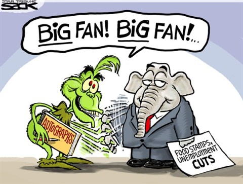 Steve Sack - The Minneapolis Star Tribune - Grinch Old Party COLOR - English - Grinch, GOP, unemployment, food stamps