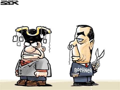 Steve Sack - The Minneapolis Star Tribune - Tea-less Boehner  COLOR - English - Boehner,Tea Party