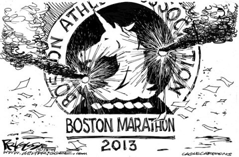 Milt Priggee - www.miltpriggee.com - Boston Marathon Terror Attack - English - Boston,marathon,terrorism,bombing