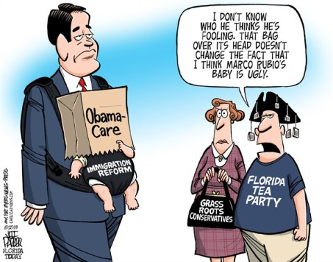 Jeff Parker - Florida Today and the Fort Myers News-Press - LOCAL FL Marco Rubio Immigration Reform Shame - English - Marco Rubio, Immigration Reform, senate, bill, Obamacare, tour, GOP, Republican, base, grass roots, conservative, Tea Party, anger, shame, popularity, polls, image, repair