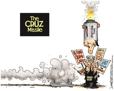 John Cole - The Scranton Times-Tribune - Cruz Missile COLOR - English - Ted Cruz, GOP, Obamacare, ACA, tea party, John Boehner