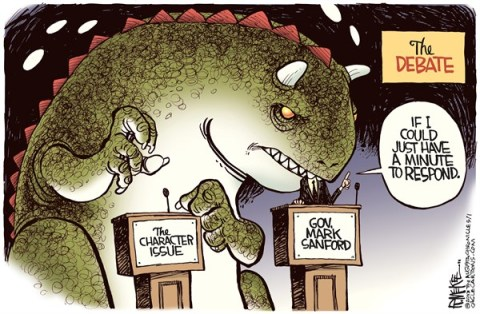 Rick McKee - The Augusta Chronicle - Sanford Debate COLOR - English - Mark, Sanford, South Carolina, election, debate, Congress, runoff