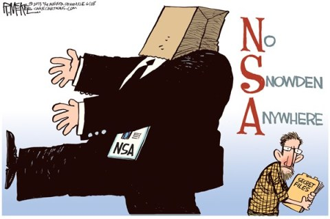 Rick McKee - The Augusta Chronicle - No Snowden Anywhere COLOR - English - NSA, Snowden
