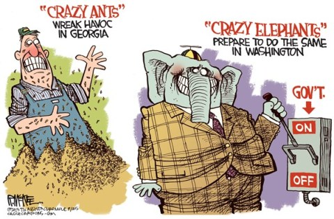 Rick McKee - The Augusta Chronicle - Crazy Elephants COLOR - English - Ted Cruz, GOP, Republicans, government shutdown, defund, Obamacare