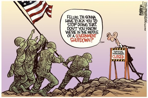Rick McKee - The Augusta Chronicle - Monuments Shutdown COLOR - English - Obama, monuments, shutdown, Iwo Jima, WWII, World War II