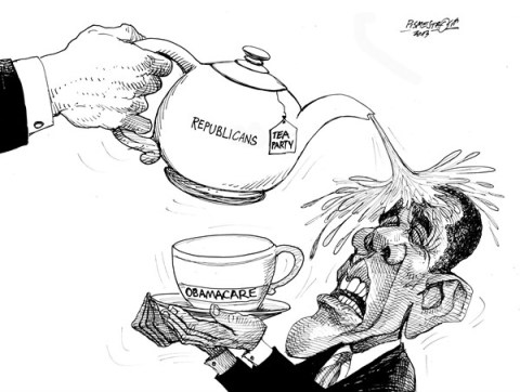 Petar Pismestrovic - Kleine Zeitung, Austria - Hot Tea - English - Barack Obama, Obama care, Budget, Democrats, Republicans, USA, Crisis