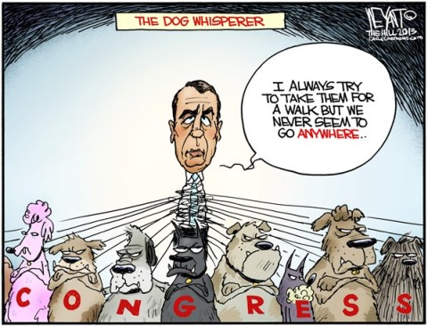 Christopher Weyant - The Hill - Dog Whisperer COLOR - English - Boehner, Speaker of the House, Congress, Republicans, GOP, right, Tea Party, obstruction, dogs, gridlock