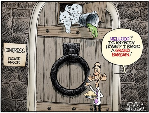Christopher Weyant - The Hill - Knock Knock COLOR - English - GOP, Obama, grand bargain, gridlock, congress, house of representatives, John Boehner, Mitch McConnell, shutdown