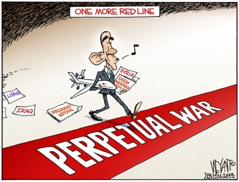 Christopher Weyant - The Hill - One More Red Line To Go COLOR - English - red line, Obama, Syria, attack, chemical weapons, Iraq, lessons, war, fatigue, Iran,